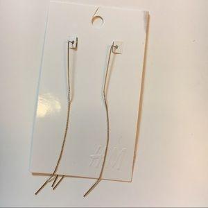 H&M Threaded Long Gold Earrings Thin Chain
